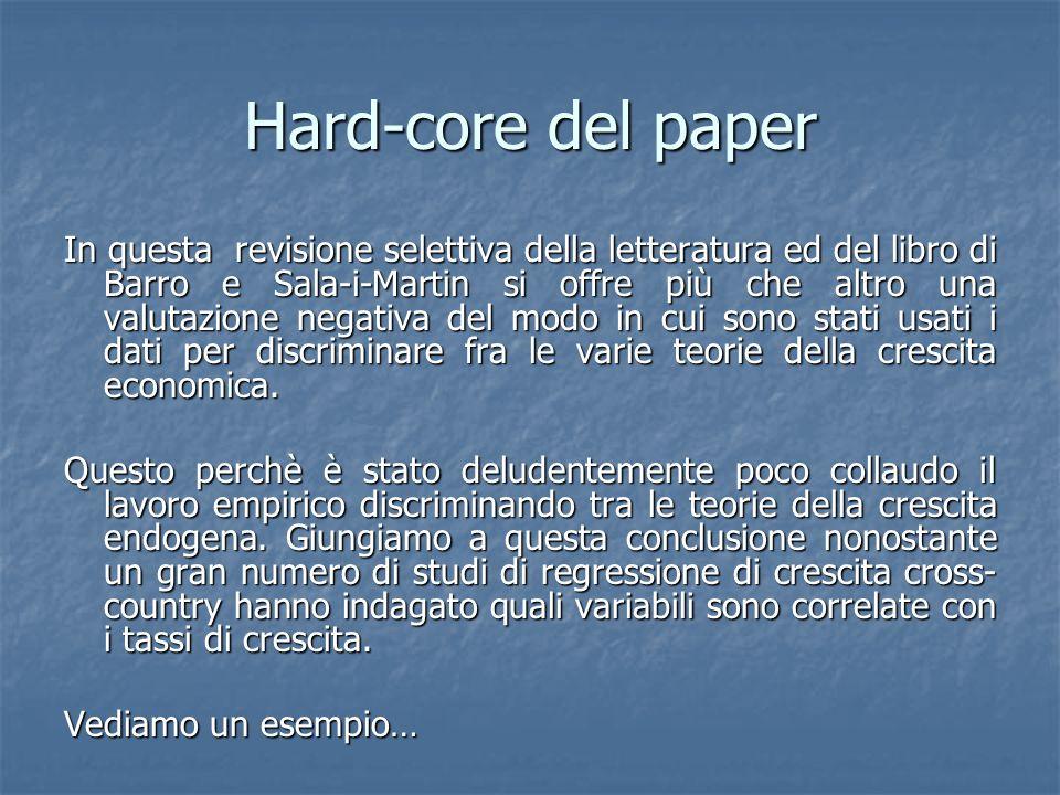 Hard-core del paper In questa revisione selettiva della letteratura ed del libro di Barro e Sala-i-Martin si offre più che altro una valutazione negativa del modo in cui sono stati usati i dati per discriminare fra le varie teorie della crescita economica.