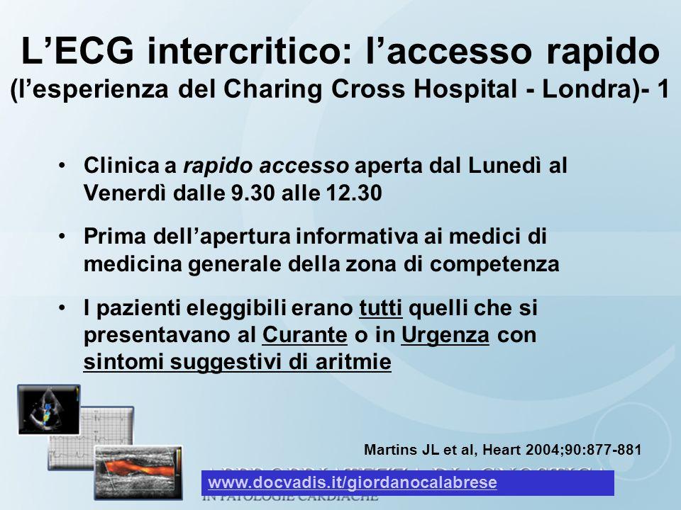 LECG intercritico: laccesso rapido (lesperienza del Charing Cross Hospital - Londra)- 1 Clinica a rapido accesso aperta dal Lunedì al Venerdì dalle 9.
