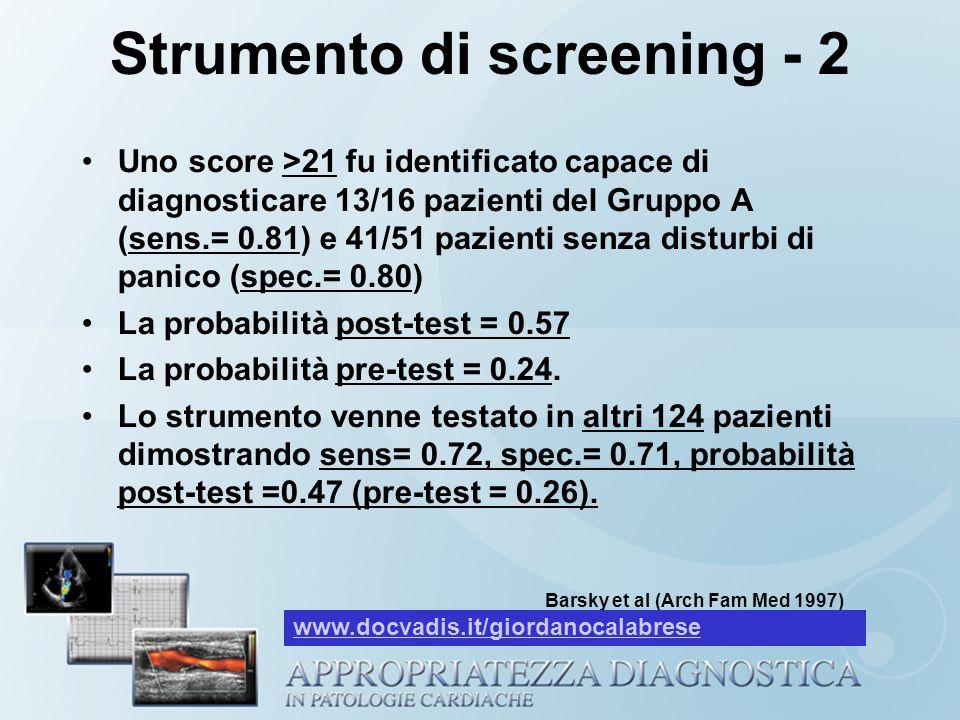 Strumento di screening - 2 Uno score >21 fu identificato capace di diagnosticare 13/16 pazienti del Gruppo A (sens.= 0.81) e 41/51 pazienti senza dist