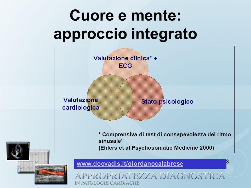 Cuore e mente: approccio integrato Mayou et al Q J Med 2003 * Comprensiva di test di consapevolezza del ritmo sinusale (Ehlers et al Psychosomatic Med