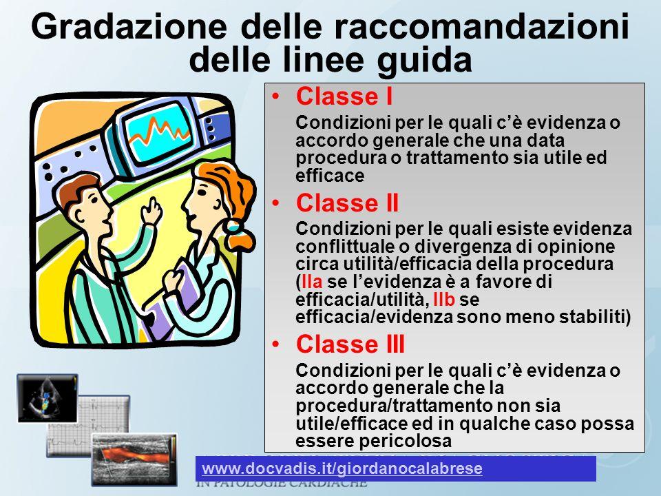 Gradazione delle raccomandazioni delle linee guida Classe I Condizioni per le quali cè evidenza o accordo generale che una data procedura o trattament