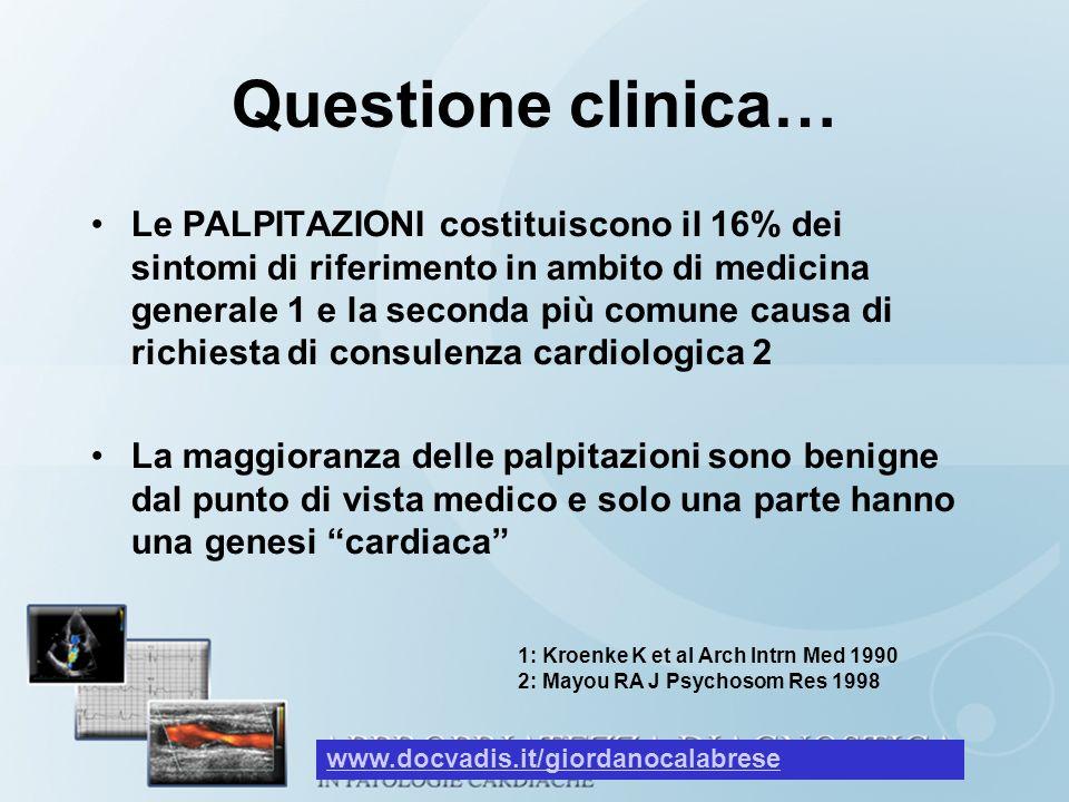 Questione clinica… Le PALPITAZIONI costituiscono il 16% dei sintomi di riferimento in ambito di medicina generale 1 e la seconda più comune causa di r