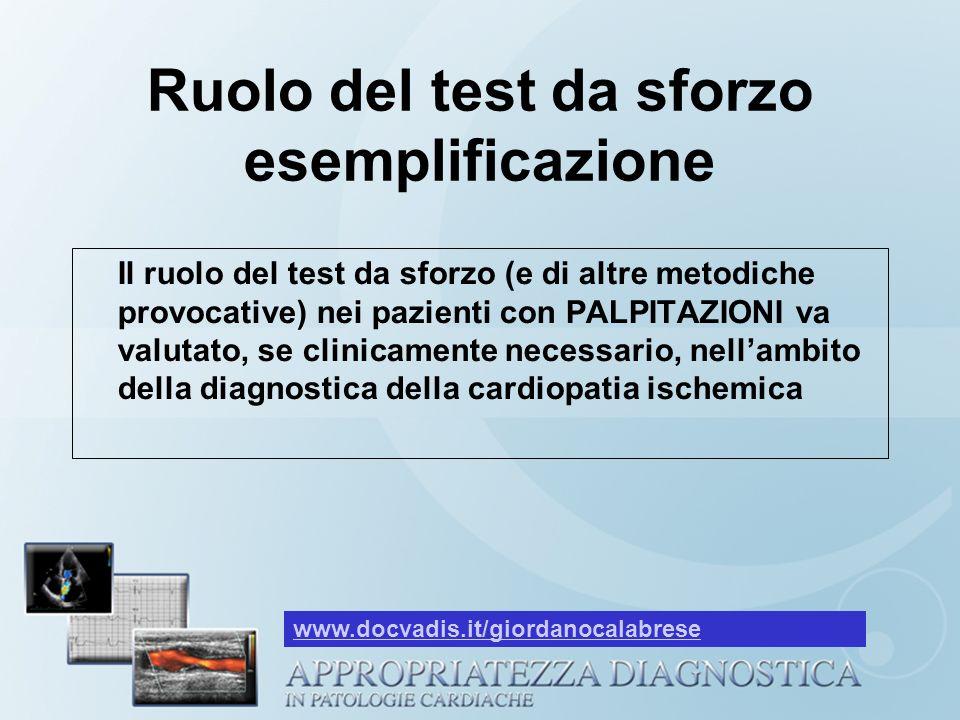 Ruolo del test da sforzo esemplificazione Il ruolo del test da sforzo (e di altre metodiche provocative) nei pazienti con PALPITAZIONI va valutato, se