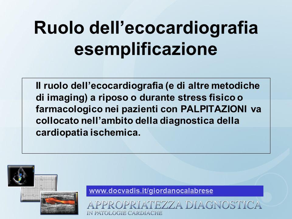 Ruolo dellecocardiografia esemplificazione Il ruolo dellecocardiografia (e di altre metodiche di imaging) a riposo o durante stress fisico o farmacolo
