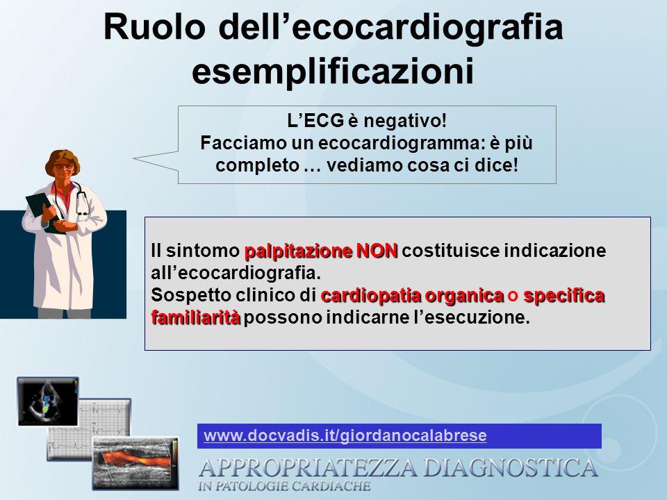 Ruolo dellecocardiografia esemplificazioni LECG è negativo! Facciamo un ecocardiogramma: è più completo … vediamo cosa ci dice! palpitazione NON cardi