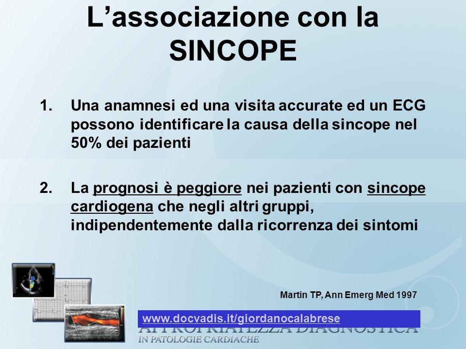 Lassociazione con la SINCOPE 1.Una anamnesi ed una visita accurate ed un ECG possono identificare la causa della sincope nel 50% dei pazienti 2.La pro