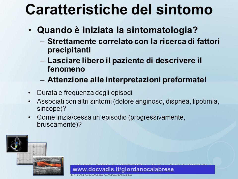 Caratteristiche del sintomo Quando è iniziata la sintomatologia.