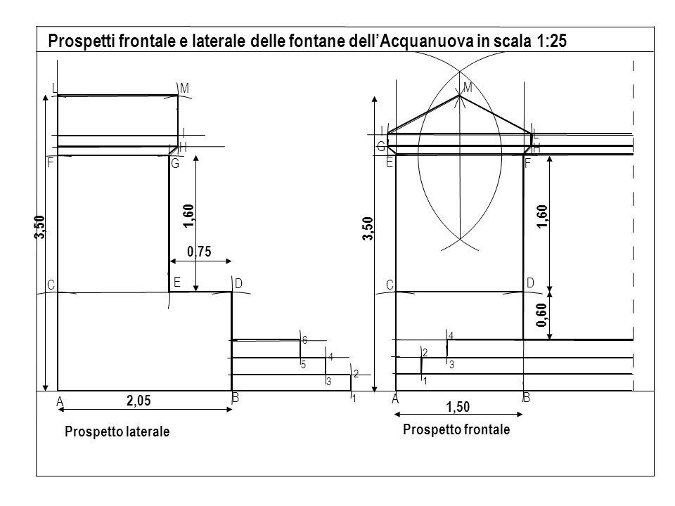 A B D C E F H L G I M 1 3 2 4 B A C D E F G H I L M 1 2 3 4 5 6 Prospetto laterale Prospetti frontale e laterale delle fontane dellAcquanuova in scala 1:25 Prospetto frontale 2,05 3,50 1,60 0,75 1,50 3,50 1,60 0,60