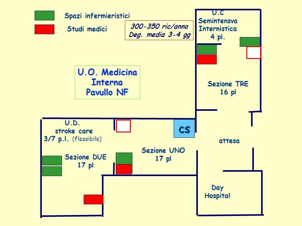 Spazi infermieristici Studi medici Sezione DUE 17 pl Sezione TRE 16 pl Sezione UNO 17 pl attesa DayHospital U.CSemintensvaInternistica 4 pl. cs U.O. M