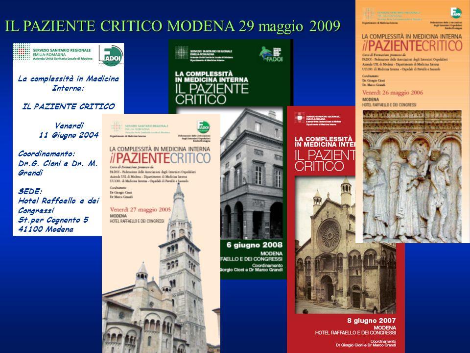 La complessità in Medicina Interna: IL PAZIENTE CRITICO Venerdì 11 Giugno 2004 Coordinamento: Dr.G. Cioni e Dr. M. Grandi SEDE: Hotel Raffaello e dei