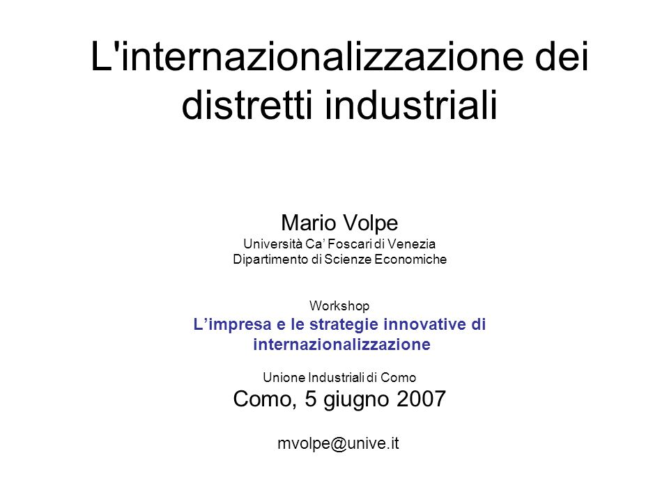 Exp of machinery Imp of clothing Imp of textiles Expof of textiles Flussi di commercio tra i distretti italiani del tessile e Abbigliamento e i paesi del far-East