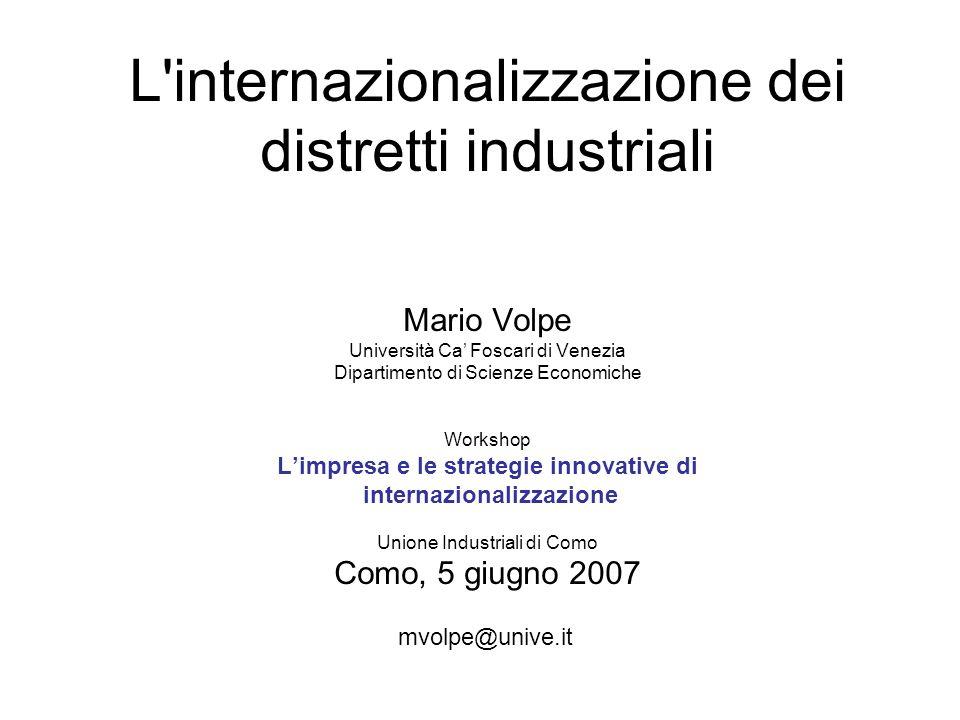 L'internazionalizzazione dei distretti industriali Mario Volpe Università Ca Foscari di Venezia Dipartimento di Scienze Economiche Workshop Limpresa e