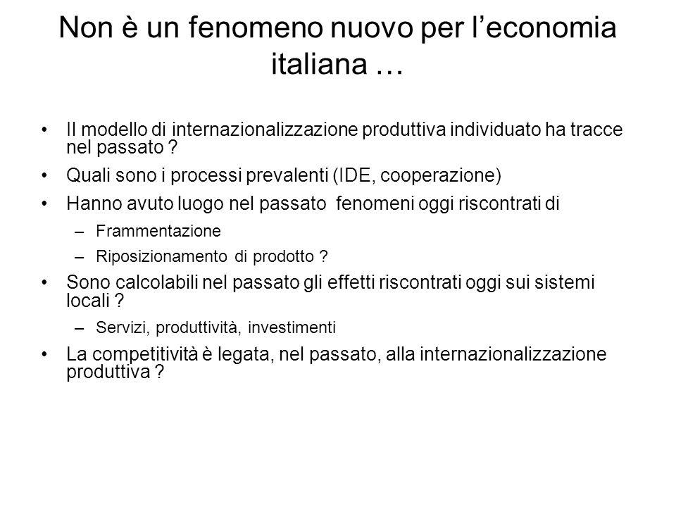 Non è un fenomeno nuovo per leconomia italiana … Il modello di internazionalizzazione produttiva individuato ha tracce nel passato ? Quali sono i proc