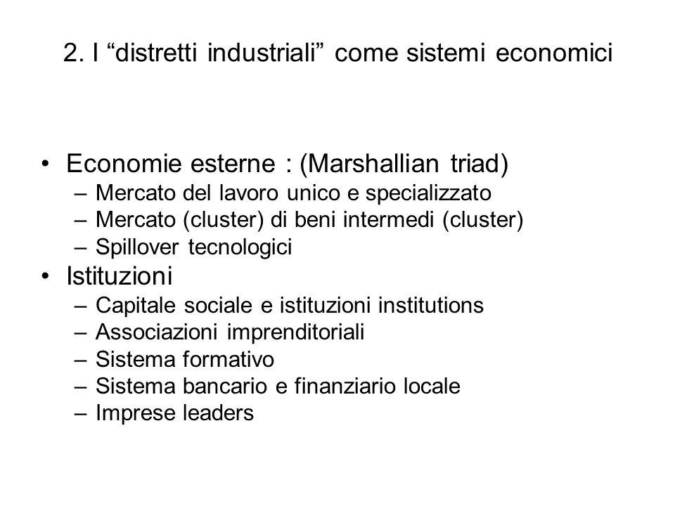 2. I distretti industriali come sistemi economici Economie esterne : (Marshallian triad) –Mercato del lavoro unico e specializzato –Mercato (cluster)