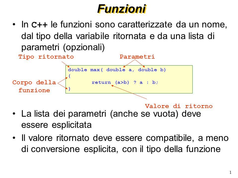 1 Funzioni In C++ le funzioni sono caratterizzate da un nome, dal tipo della variabile ritornata e da una lista di parametri (opzionali) La lista dei parametri (anche se vuota) deve essere esplicitata Il valore ritornato deve essere compatibile, a meno di conversione esplicita, con il tipo della funzione Valore di ritorno double max( double a, double b) { return (a>b) .