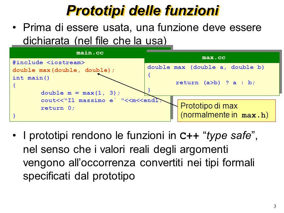 3 Prototipi delle funzioni Prima di essere usata, una funzione deve essere dichiarata (nel file che la usa) I prototipi rendono le funzioni in C++ type safe, nel senso che i valori reali degli argomenti vengono alloccorrenza convertiti nei tipi formali specificati dal prototipo #include double max(double, double); int main() { double m = max(1, 3); cout<<Il massimo e` <<m<<endl; return 0; } #include double max(double, double); int main() { double m = max(1, 3); cout<<Il massimo e` <<m<<endl; return 0; } main.cc double max (double a, double b) { return (a>b) .