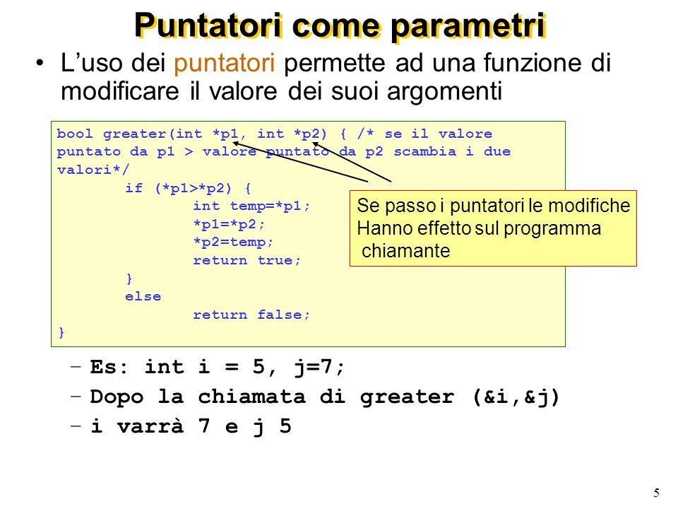 5 Puntatori come parametri Luso dei puntatori permette ad una funzione di modificare il valore dei suoi argomenti –Es: int i = 5, j=7; –Dopo la chiamata di greater (&i,&j) –i varrà 7 e j 5 bool greater(int *p1, int *p2) { /* se il valore puntato da p1 > valore puntato da p2 scambia i due valori*/ if (*p1>*p2) { int temp=*p1; *p1=*p2; *p2=temp; return true; } else return false; } Se passo i puntatori le modifiche Hanno effetto sul programma chiamante