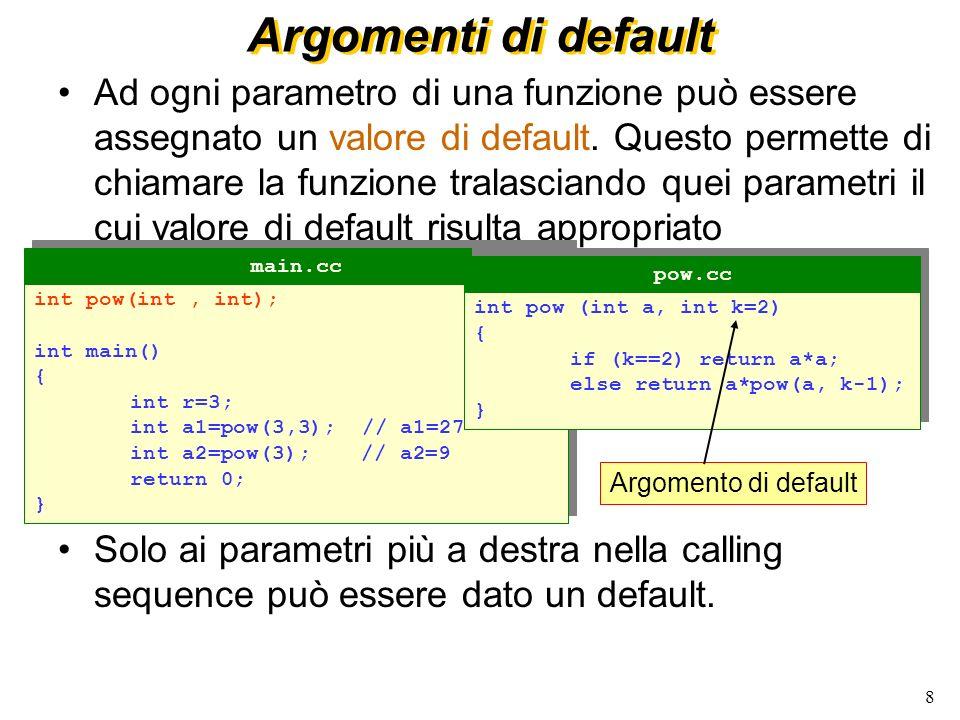 8 Argomenti di default Ad ogni parametro di una funzione può essere assegnato un valore di default.