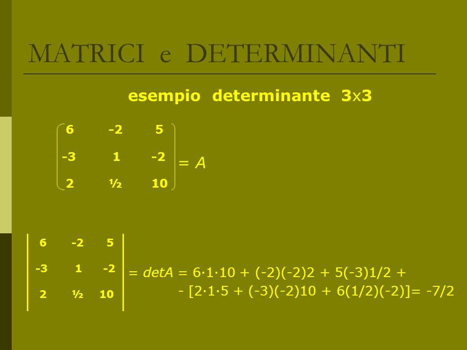 MATRICI e DETERMINANTI esempio determinante 3x3 = A = detA = 6110 + (-2)(-2)2 + 5(-3)1/2 + - [215 + (-3)(-2)10 + 6(1/2)(-2)]= -7/2 6 -2 5 -3 1 -2 2 ½