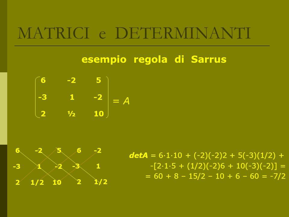 MATRICI e DETERMINANTI esempio regola di Sarrus = A detA = 6110 + (-2)(-2)2 + 5(-3)(1/2) + -[215 + (1/2)(-2)6 + 10(-3)(-2)] = = 60 + 8 – 15/2 – 10 + 6
