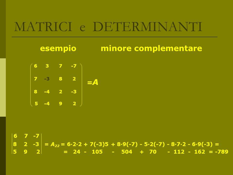 MATRICI e DETERMINANTI esempio minore complementare = A 5 -4 9 2 6 7 -7 8 2 -3 = A 22 = 622 + 7(-3)5 + 89(-7) - 52(-7) - 872 - 69(-3) = 5 9 2 = 24 - 1