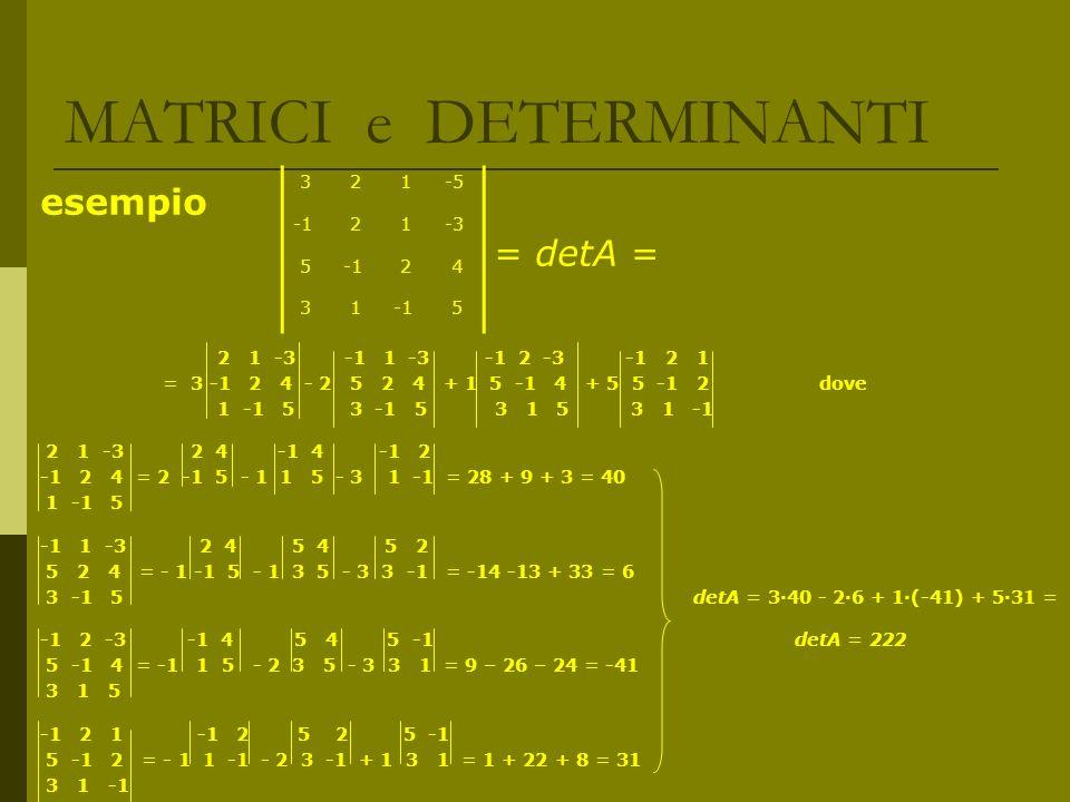 MATRICI e DETERMINANTI esempio = detA = 2 1 -3 -1 1 -3 -1 2 -3 -1 2 1 = 3 -1 2 4 - 2 5 2 4 + 1 5 -1 4 + 5 5 -1 2 dove 1 -1 5 3 -1 5 3 1 5 3 1 -1 2 1 -