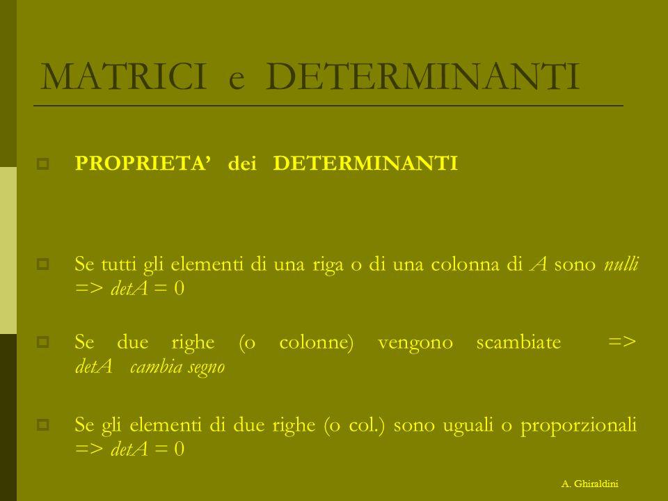 MATRICI e DETERMINANTI PROPRIETA dei DETERMINANTI Se tutti gli elementi di una riga o di una colonna di A sono nulli => detA = 0 Se due righe (o colon