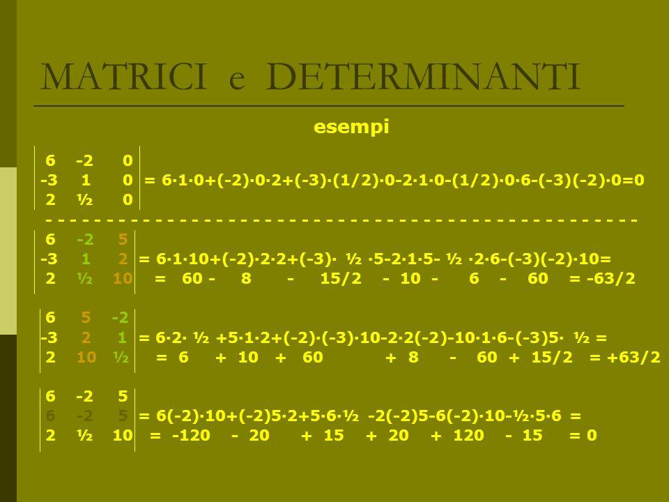 MATRICI e DETERMINANTI esempi 6 -2 0 -3 1 0 = 610+(-2)02+(-3)(1/2)0-210-(1/2)06-(-3)(-2)0=0 2 ½ 0 - - - - - - - - - - - - - - - - - - - - - - - - - -