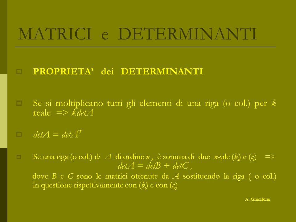 MATRICI e DETERMINANTI PROPRIETA dei DETERMINANTI Se si moltiplicano tutti gli elementi di una riga (o col.) per k reale => kdetA detA = detA T Se una