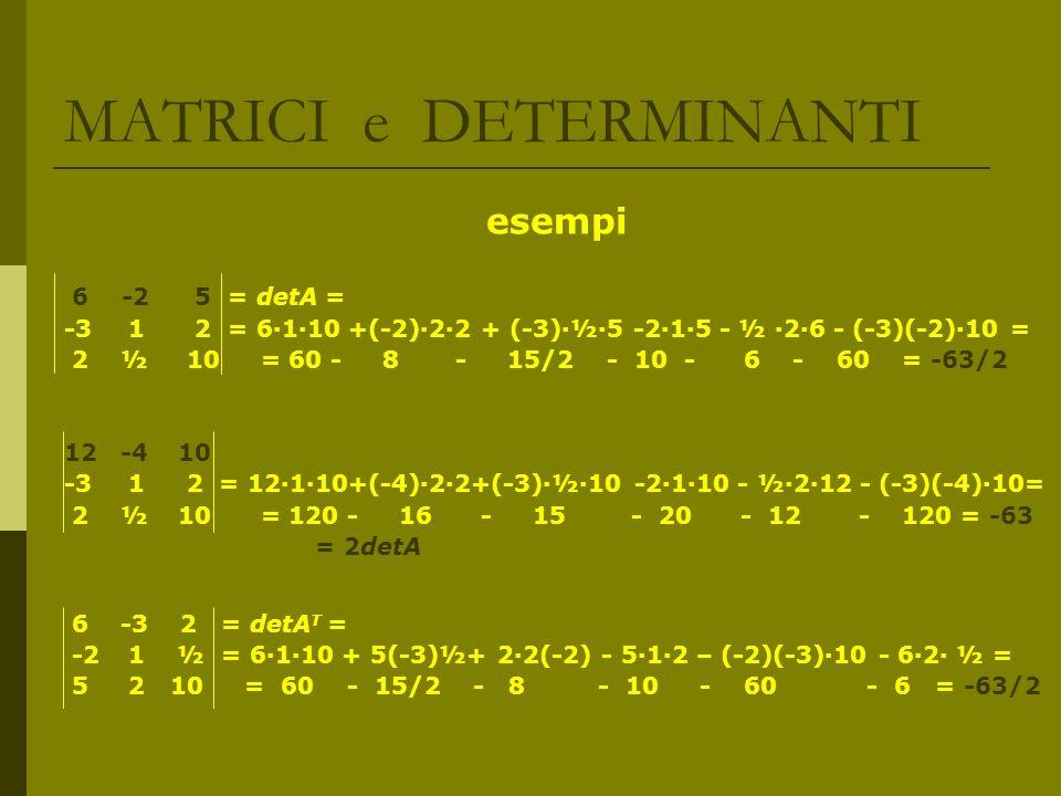 MATRICI e DETERMINANTI esempi 6 -2 5 = detA = -3 1 2 = 6110 +(-2)22 + (-3)½5 -215 - ½ 26 - (-3)(-2)10 = 2 ½ 10 = 60 - 8 - 15/2 - 10 - 6 - 60 = -63/2 1