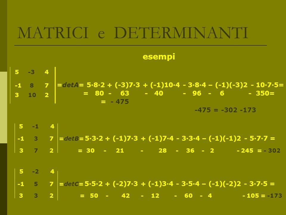 MATRICI e DETERMINANTI esempi =detA= 582 + (-3)73 + (-1)104 - 384 – (-1)(-3)2 - 1075= = 80 - 63 - 40 - 96 - 6 - 350= = - 475 -475 = -302 -173 5 -1 4 -