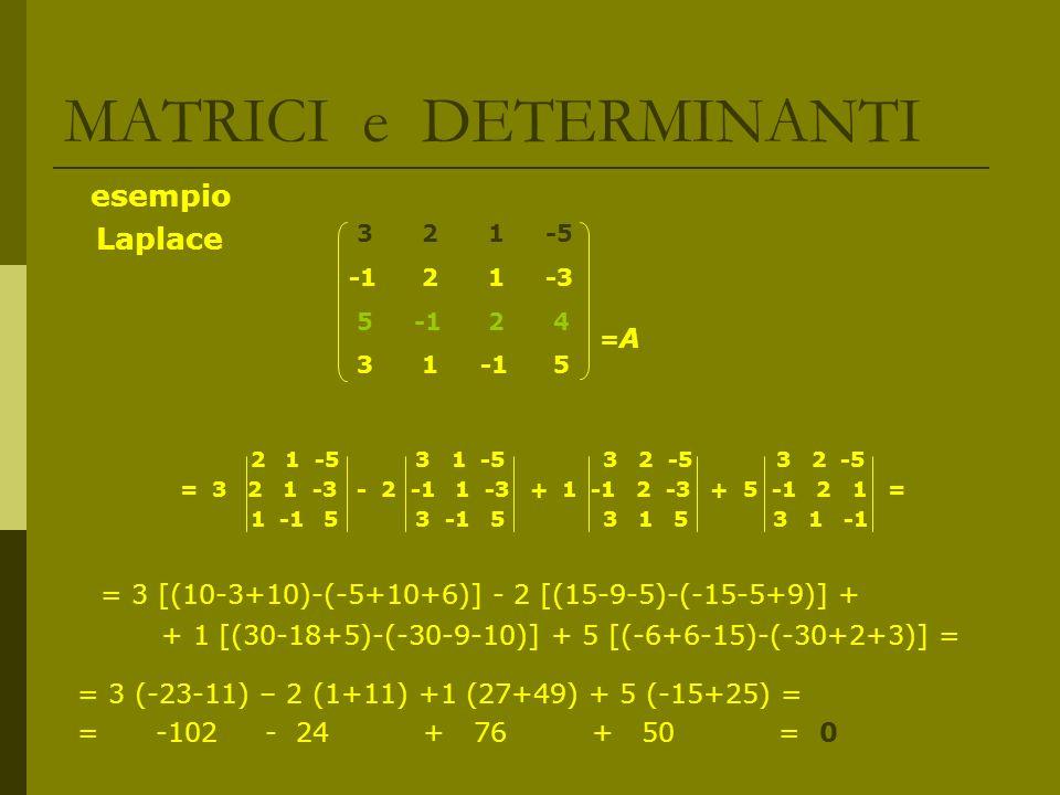 MATRICI e DETERMINANTI esempio Laplace = A 2 1 -5 3 1 -5 3 2 -5 3 2 -5 = 3 2 1 -3 - 2 -1 1 -3 + 1 -1 2 -3 + 5 -1 2 1 = 1 -1 5 3 -1 5 3 1 5 3 1 -1 = 3