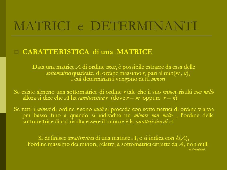 MATRICI e DETERMINANTI CARATTERISTICA di una MATRICE Data una matrice A di ordine mxn, è possibile estrarre da essa delle sottomatrici quadrate, di or