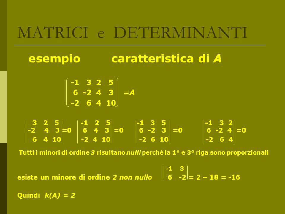 MATRICI e DETERMINANTI esempio caratteristica di A -1 3 2 5 6 -2 4 3 =A -2 6 4 10 3 2 5 -1 2 5 -1 3 5 -1 3 2 -2 4 3 =0 6 4 3 =0 6 -2 3 =0 6 -2 4 =0 6
