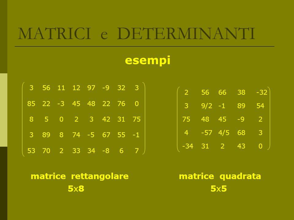 MATRICI e DETERMINANTI CARATTERISTICA di una MATRICE Data una matrice A di ordine mxn, è possibile estrarre da essa delle sottomatrici quadrate, di ordine massimo r, pari al min(m, n), i cui determinanti vengono detti minori Se esiste almeno una sottomatrice di ordine r tale che il suo minore risulti non nullo allora si dice che A ha caratteristica r (dove r = m oppure r = n) Se tutti i minori di ordine r sono nulli si procede con sottomatrici di ordine via via più basso fino a quando si individua un minore non nullo, lordine della sottomatrice di cui risulta essere il minore è la caratteristica di A Si definisce caratteristica di una matrice A, e si indica con k(A), lordine massimo dei minori, relativi a sottomatrici estratte da A, non nulli A.