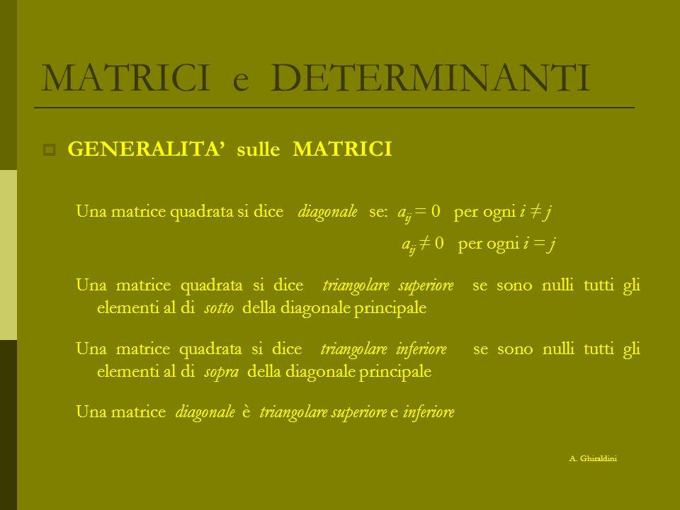 MATRICI e DETERMINANTI esempio caratteristica di A -1 3 2 5 6 -2 4 3 =A -2 6 4 10 3 2 5 -1 2 5 -1 3 5 -1 3 2 -2 4 3 =0 6 4 3 =0 6 -2 3 =0 6 -2 4 =0 6 4 10 -2 4 10 -2 6 10 -2 6 4 Tutti i minori di ordine 3 risultano nulli perché la 1° e 3° riga sono proporzionali -1 3 esiste un minore di ordine 2 non nullo 6 -2 = 2 – 18 = -16 Quindi k(A) = 2