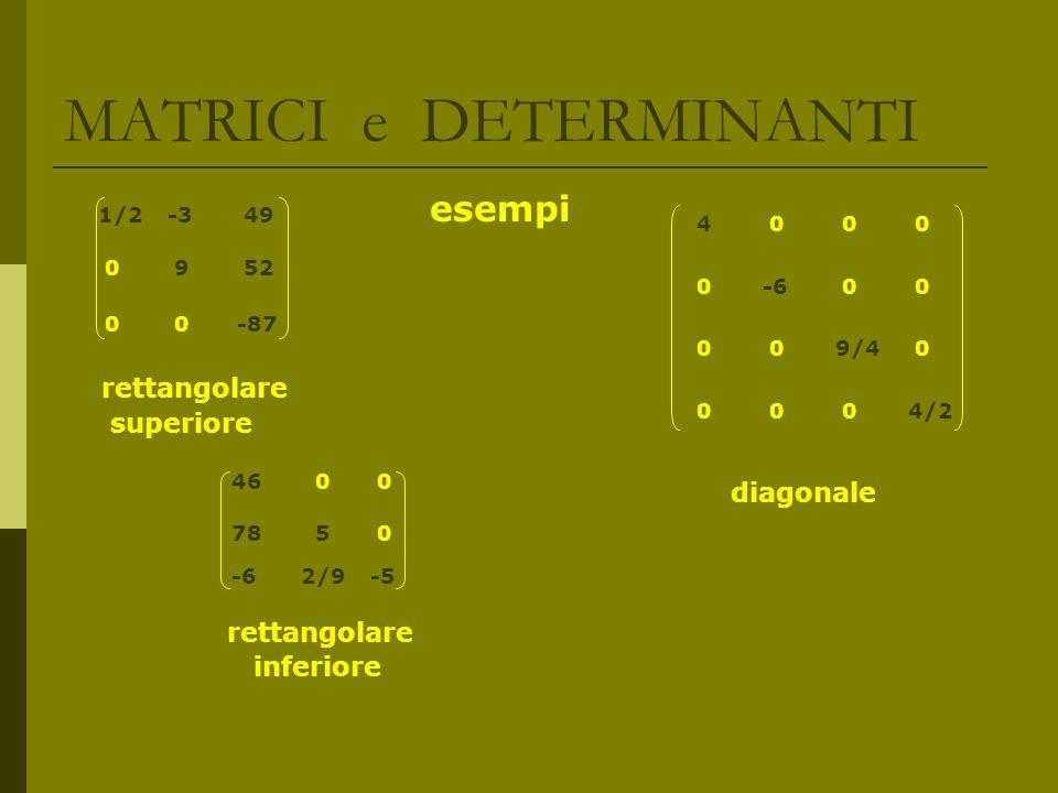 MATRICI e DETERMINANTI GENERALITA sulle MATRICI Data una matrice A di ordine mxn, si dice trasposta di A, e si indica con A T la matrice di ordine nxm ottenuta da A scambiando le righe con le colonne Una matrice si dice simmetrica se A = A T Una matrice quadrata si dice identica o unitaria se: a ij = 1 per i = j a ij = 0 per i j A.