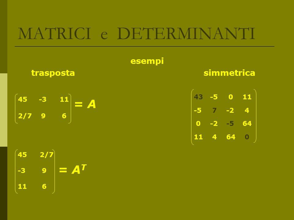 MATRICI e DETERMINANTI PROPRIETA dei DETERMINANTI Se si moltiplicano tutti gli elementi di una riga (o col.) per k reale => kdetA detA = detA T Se una riga (o col.) di A di ordine n, è somma di due n-ple (b i ) e (c i ) => detA = detB + detC, dove B e C sono le matrici ottenute da A sostituendo la riga ( o col.) in questione rispettivamente con (b i ) e con (c i ) A.