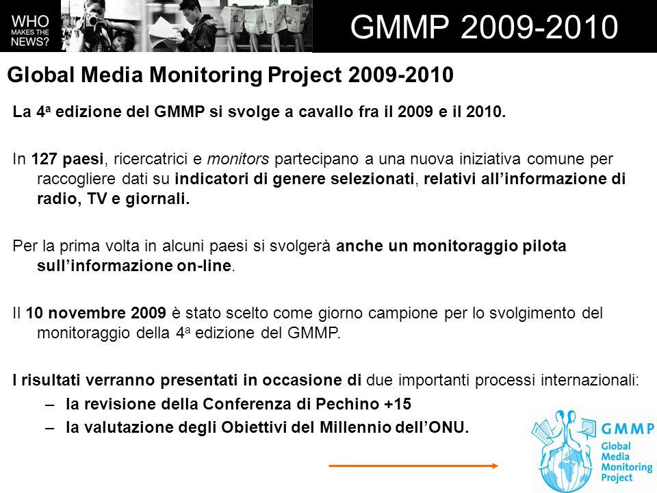 GMMP 2009-2010 La 4 a edizione del GMMP si svolge a cavallo fra il 2009 e il 2010. In 127 paesi, ricercatrici e monitors partecipano a una nuova inizi