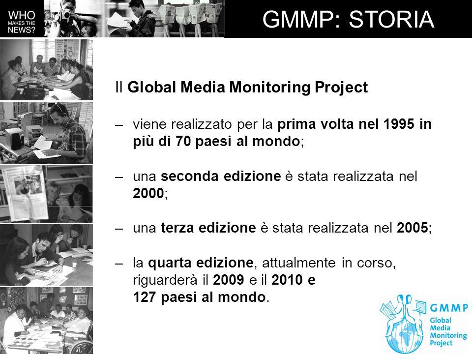 GMMP: STORIA Il Global Media Monitoring Project –viene realizzato per la prima volta nel 1995 in più di 70 paesi al mondo; –una seconda edizione è sta