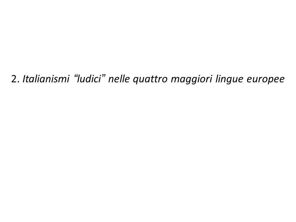 2. Italianismi ludici nelle quattro maggiori lingue europee