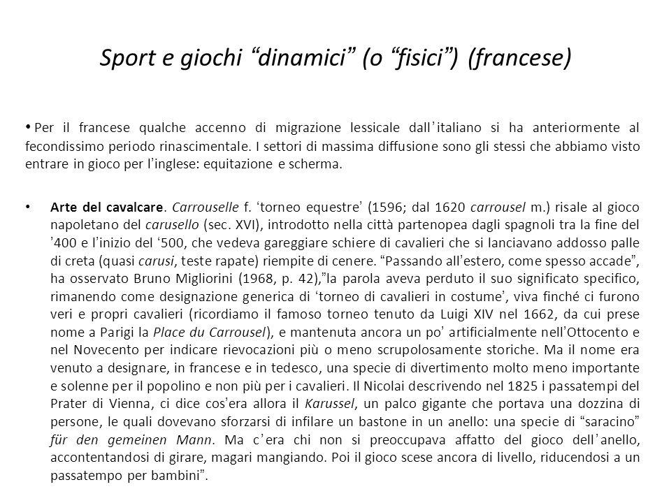 Sport e giochi dinamici (o fisici) (francese) Per il francese qualche accenno di migrazione lessicale dallitaliano si ha anteriormente al fecondissimo