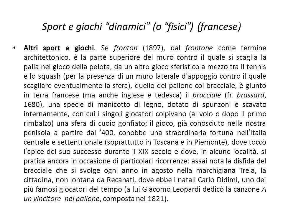 Sport e giochi dinamici (o fisici) (francese) Altri sport e giochi. Se fronton (1897), dal frontone come termine architettonico, è la parte superiore