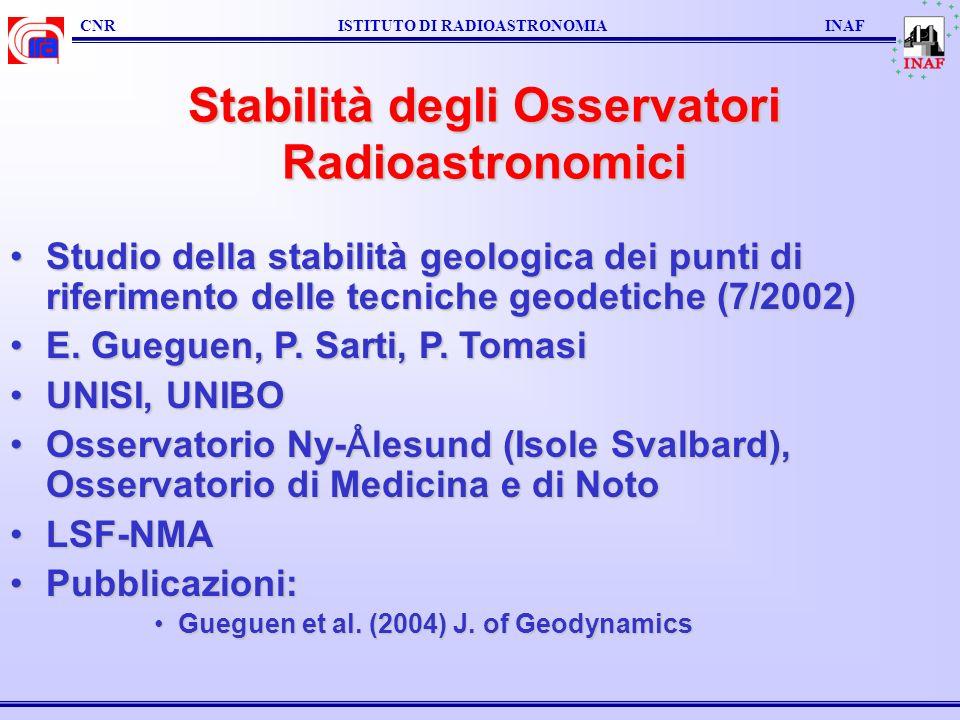 Stabilità degli Osservatori Radioastronomici Studio della stabilità geologica dei punti di riferimento delle tecniche geodetiche (7/2002)Studio della