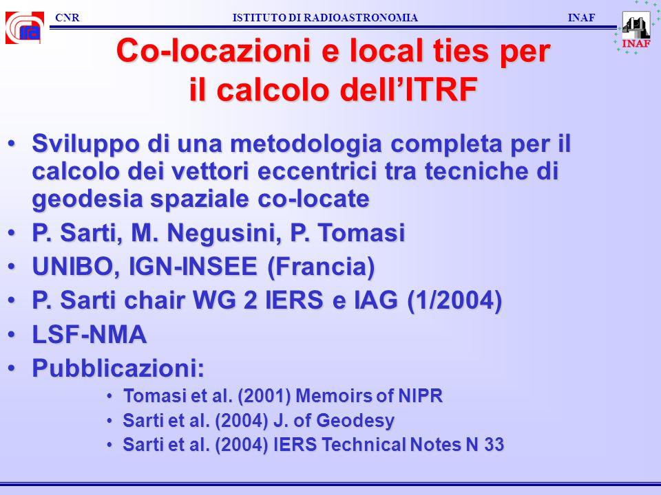 CNR ISTITUTO DI RADIOASTRONOMIA INAF Co-locazioni e local ties per il calcolo dellITRF Sviluppo di una metodologia completa per il calcolo dei vettori