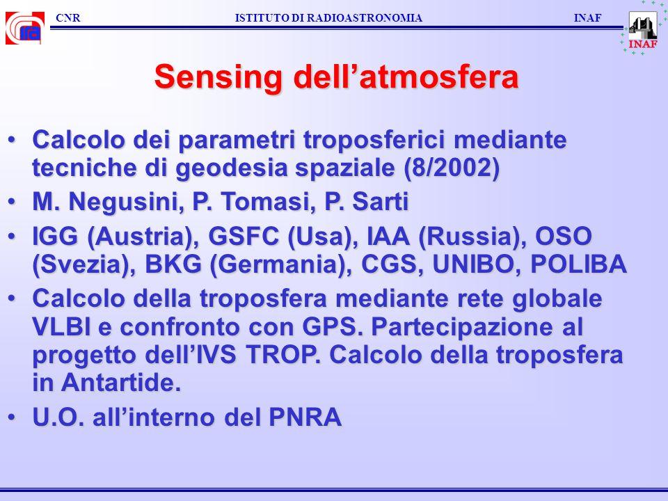 Sensing dellatmosfera Calcolo dei parametri troposferici mediante tecniche di geodesia spaziale (8/2002)Calcolo dei parametri troposferici mediante te