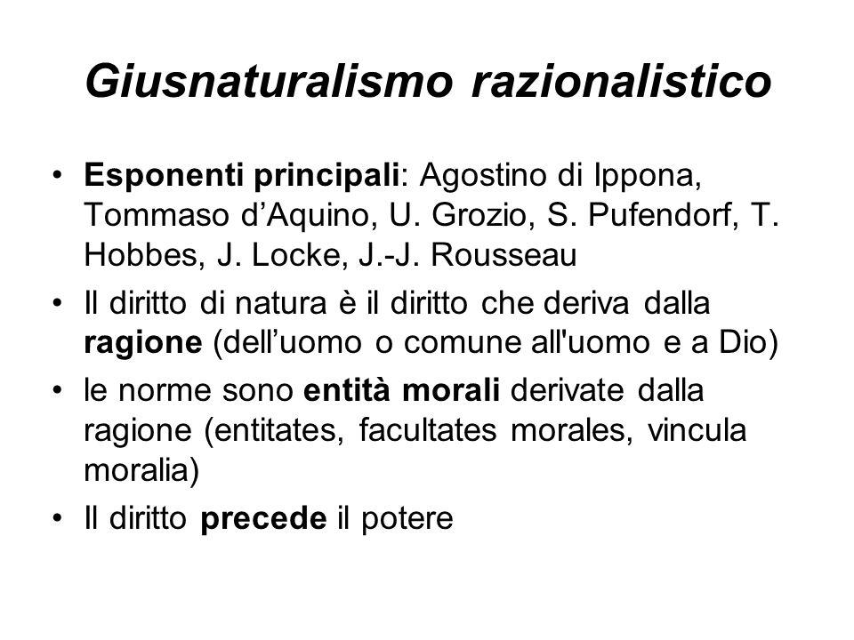 Giusnaturalismo razionalistico Esponenti principali: Agostino di Ippona, Tommaso dAquino, U. Grozio, S. Pufendorf, T. Hobbes, J. Locke, J.-J. Rousseau