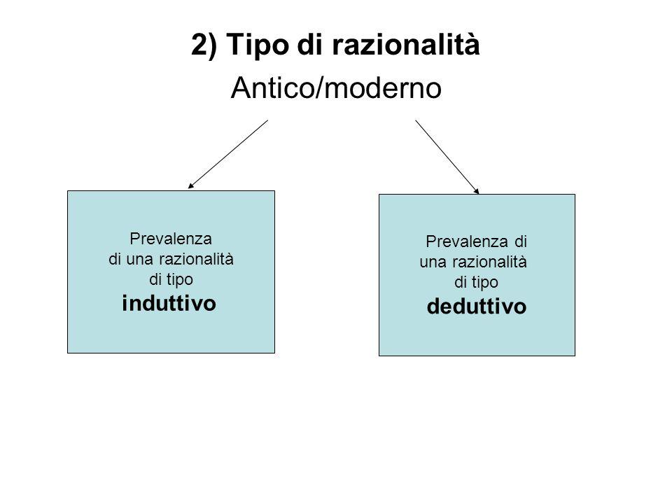 2) Tipo di razionalità Antico/moderno Prevalenza di una razionalità di tipo induttivo Prevalenza di una razionalità di tipo deduttivo