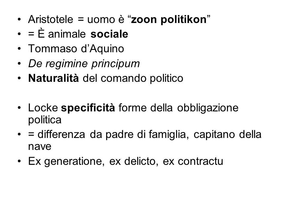 Aristotele = uomo è zoon politikon = È animale sociale Tommaso dAquino De regimine principum Naturalità del comando politico Locke specificità forme d