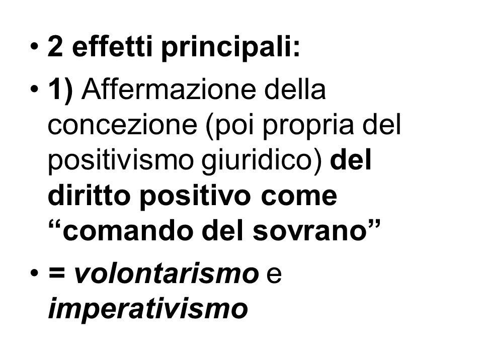 2 effetti principali: 1) Affermazione della concezione (poi propria del positivismo giuridico) del diritto positivo come comando del sovrano = volonta